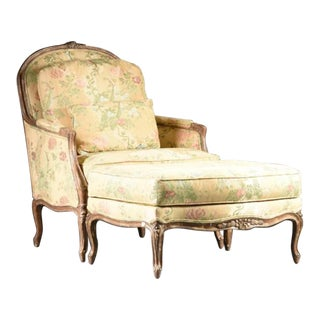 Louis XV Style Bergere & Footstool - A Pair