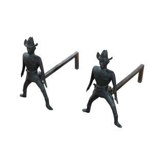 Cast Iron Fireplace Cowboys Andiron - A Pair