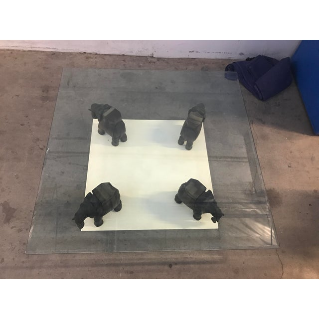Glass Coffee Table With Wooden Elephant Stands - Image 4 of 8