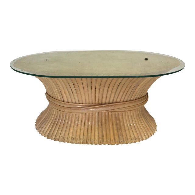 Sheaf of Wheat Rattan Oval Coffee Table - Image 1 of 7