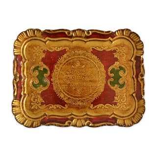 Italian Florentine Tray with Yellow and Gold Gilt