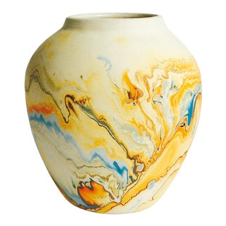 Vintage Blue & Orange Nemadji Pottery Vase