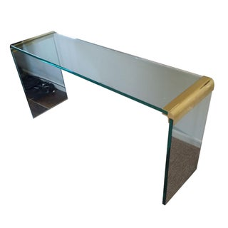 Leon Rosen Glass & Brass Console Table