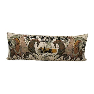 Vintage Grecian Print Fabric Pillow