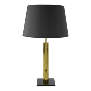 Nessen Brass Cylinder & Black Lacquer Base Table Lamp