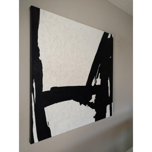 Hand Painted Large Black & White Abstract Painting - Image 10 of 11