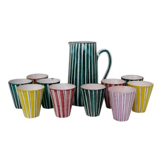 Italian Ceramic Pitcher With Cups - 11 Pieces
