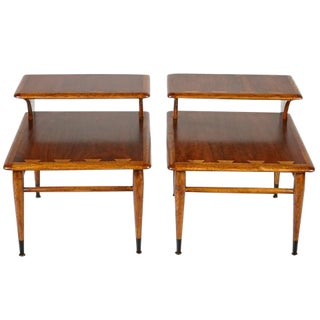 Dovetailed Lane Furniture Step Up Side Tables - A Pair