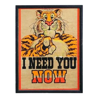 Vintage 1960s Esso Gas Tiger Ad Poster