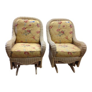 Ethan Allen Off-White Wicker Rocking Chairs - Pair