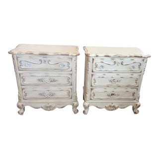 Lane Distressed French Provincial Nightstands - A Pair