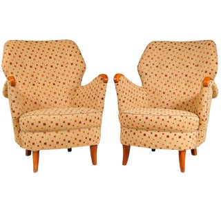 Swedish Birchwood Armchairs - A Pair