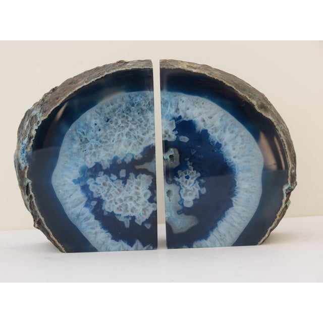 Blue Geode Bookends - A Pair - Image 2 of 7