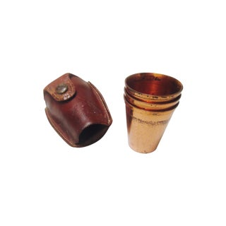 Leather Case & Copper Shot Glasses - Set of 3