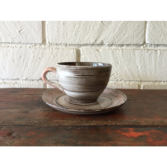 Stylized Spiral Tea Cup & Saucer - Image 2 of 9