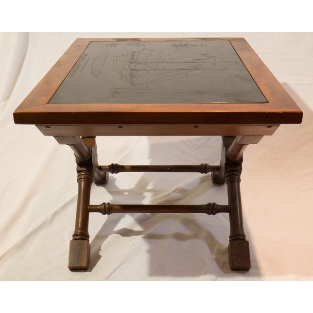 Nautical blueprint etched slate coffee table chairish for Nautical coffee table