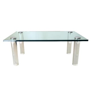 Pace Collection Lucite and Chrome Coffee Table
