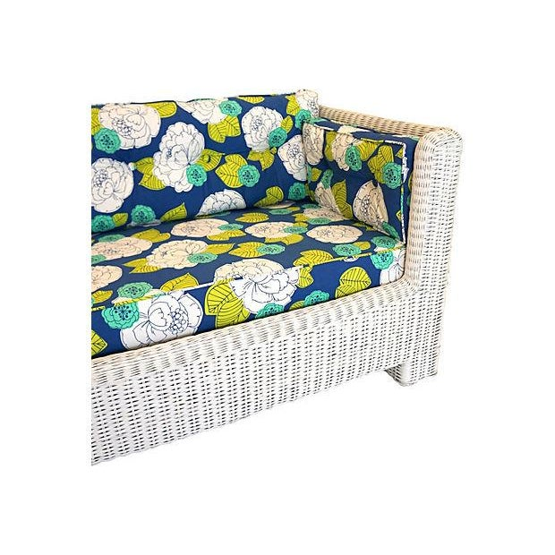 White Wicker Indoor/Outdoor Sofa - Image 4 of 7
