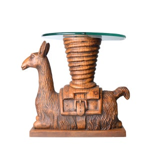 Hand-Carved Wood Llama Glass Table