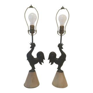 40s Rooster Table Lamps - A Pair