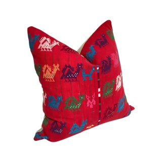 Custom Red Tzute Vintage Guatemalen Fabric Pillow