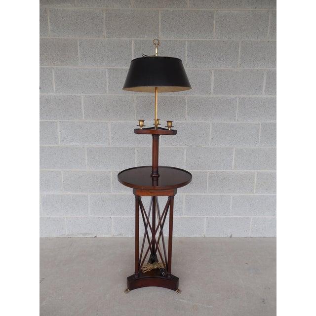 Vintage mahogany regency style toleware bouillotte floor for Antique mahogany floor lamp