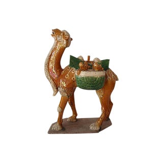 Chinese Antique Tang Style Glazed Pottery Camel