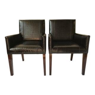 Ralph Lauren Home Modern Metropolis Leather Armchairs