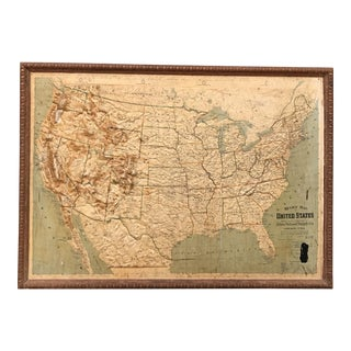 Vintage Framed United States Map