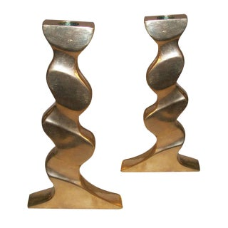 Pair of Sculptural Polished Bronze Candlesticks