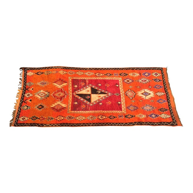 "A Very Old Fine and Rare Vintage Orange Moroccan Azilal Rug - 4'2"" X 10' - Image 1 of 5"