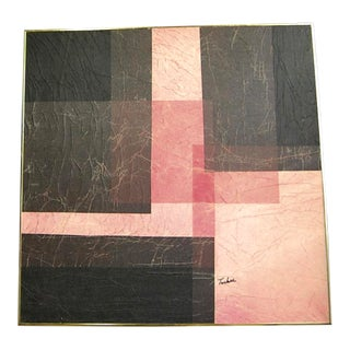 Modernist Pink & Black Mixed Media Painting