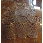 Image of Mid-Century Gold Drinking Tumbler Glasses - S/10