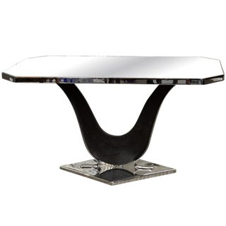 French Modernist Nickel Plated and Mirrored Side Table in Style of Jacques Adnet