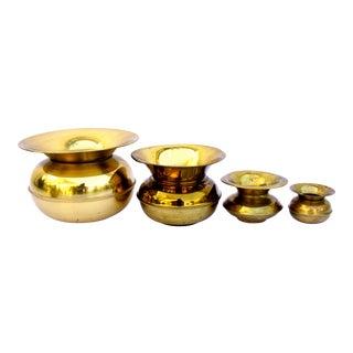 Vintage Brass Spittoon Planters- Set of 4