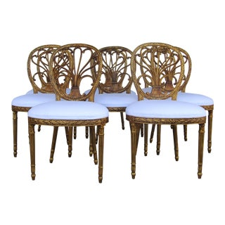 Sheraton Style Upholstered Dining Chairs - Set of 4