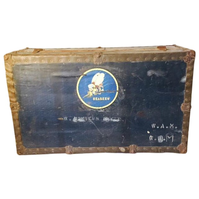 Antique Original WWII Seabees Trunk - Image 1 of 5