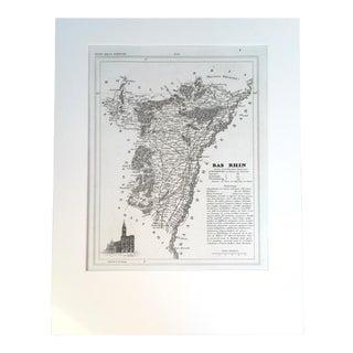 "19th C. Map of Bas Rhin, France, ""Petit Atlas..."" 1833"
