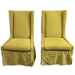 Lee Industries Wingback Slipcover Chairs - A Pair