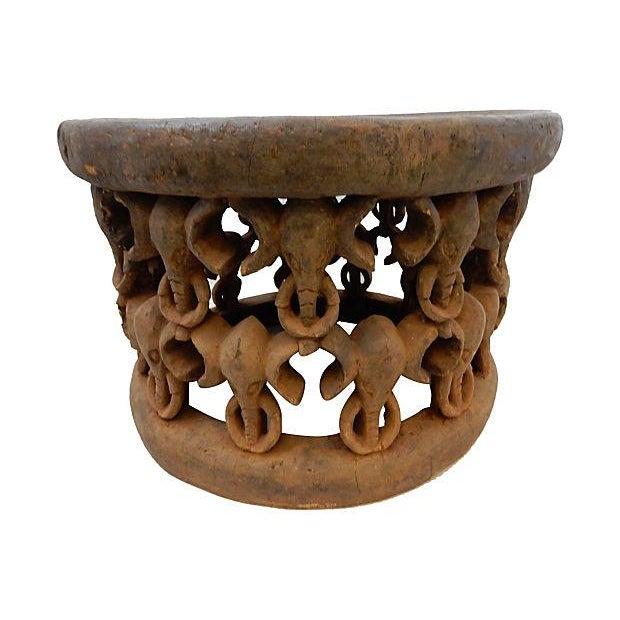 African Elephant Bamileke Table Stool - Image 2 of 7