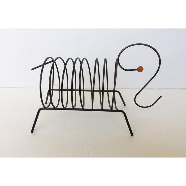 Vintage Mid-Century Black Metal Wire Mail Holder - Image 4 of 7