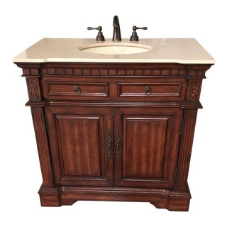 Brown Bath Vanity Cabinet With Sink and Fixtures