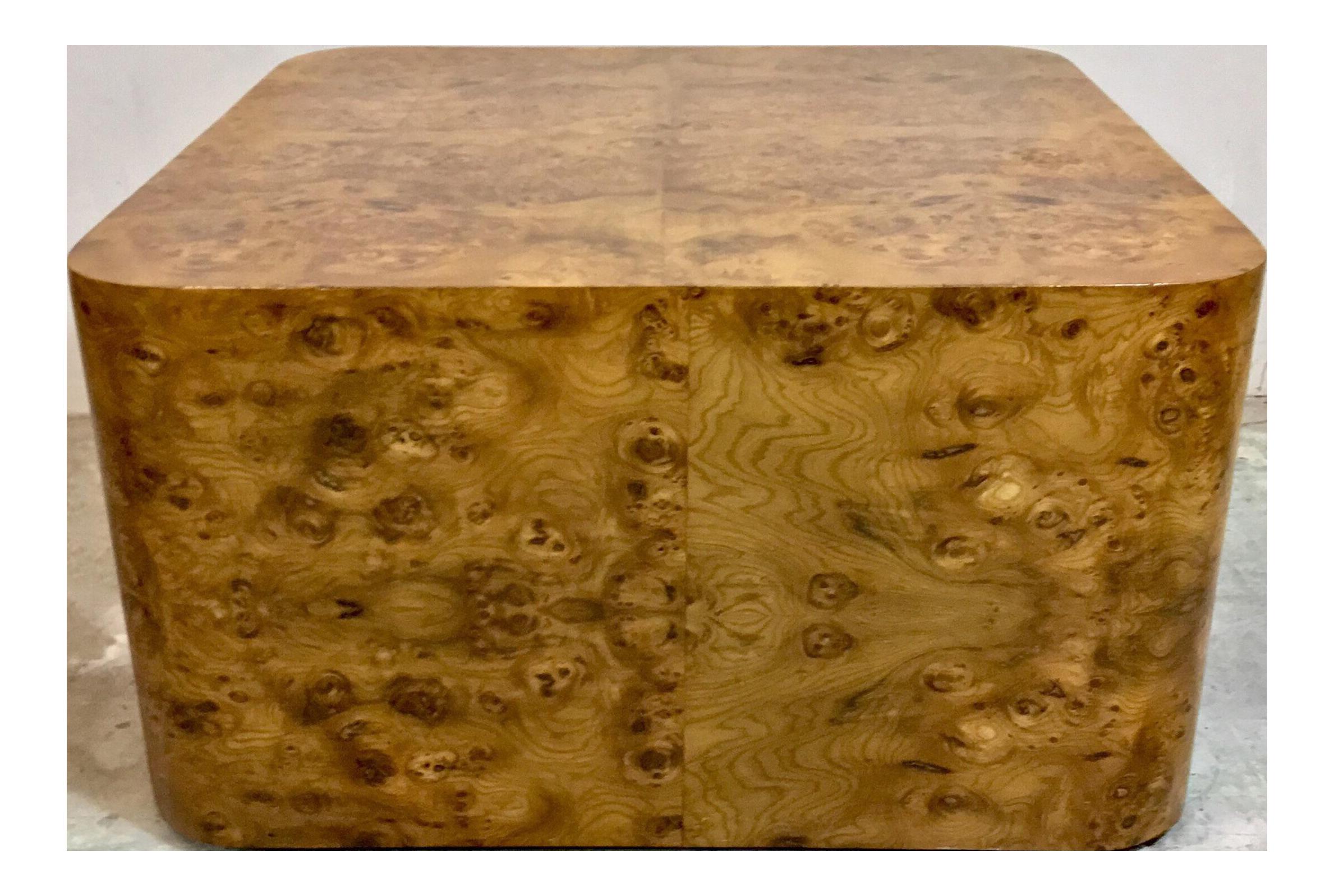 Modern Burlwood Coffee Table Att. Milo Baughman