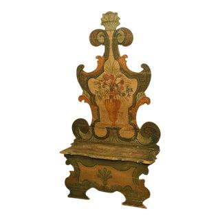 Polychrome 19th Century Italian Hall Bench