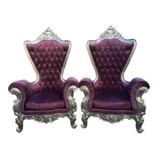 Custom Baroque Purple & Silver Chairs - A Pair