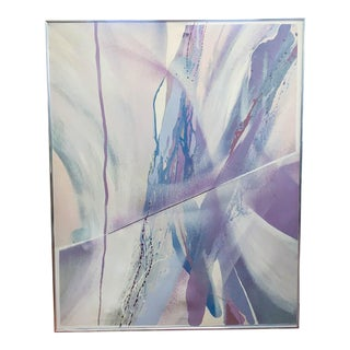 Large Mid Century Abstract - Colors in Purple and Blue