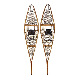 1940s Large Hardwood/Bentwood Wood Snow Shoes - Pair