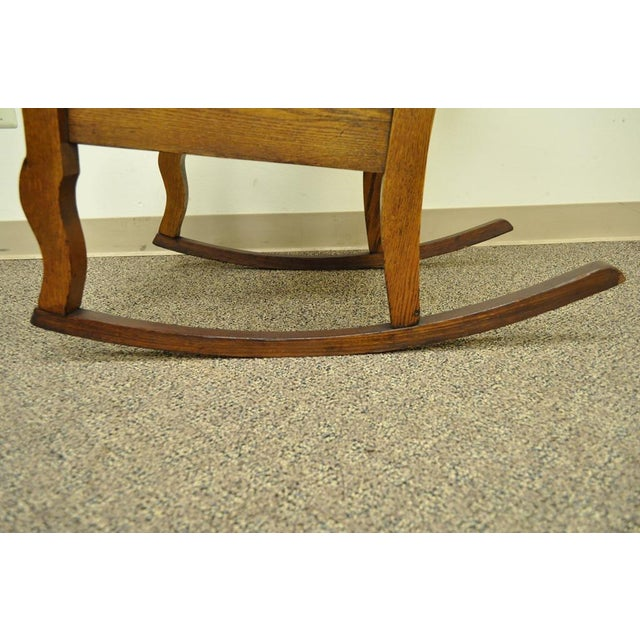 Antique Mission Arts & Crafts Carved Solid Oak Rocking Lounge Chair - Image 8 of 11
