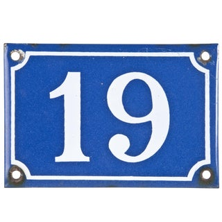 "Vintage French Porcelain ""19"" House Number"