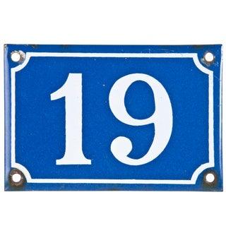 """Vintage French Porcelain """"19"""" House Number"""